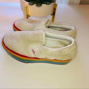 Vans Rainbow Platform Shearling Slip On Sneakers